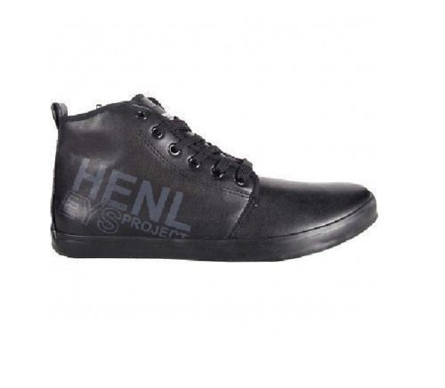 HENLEYS PARR MENS BLACK HIGH TOP CASUAL SHOES TRAINERS ZIP SIDE LOGO RRP £40