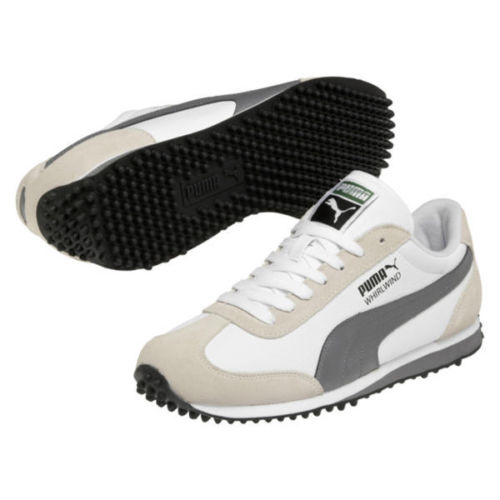 Puma Whirlwind Classic Leather Mens Retro Running Shoes Sneakers Off White Grey